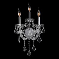 This stunning 3-light wall sconce only uses the best quality material and workmanship ensuring a beautiful heirloom quality piece. Featuring a radiant chrome finish and finely cut premium grade crystals with a lead content of 30%, this elegant wall sconce will give any room sparkle and glamour.