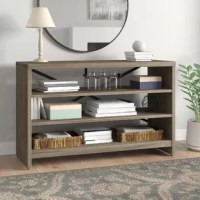 Create that rustic look in your living room, dining room, or entry way by adding our versatile console table. Looks great behind or in front of your sofa, entertainment area, lining the entry way, or as a side bar in your dining area. The shiplap design is complimented by the contemporary metal support bars and the paper lamination finish is resilient and durable. This unique treasure will add years of warmth and enjoyment to your home.