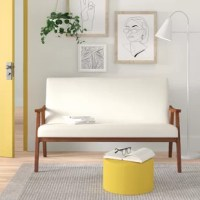 Refresh your space with a hint of modern style with this loveseat. Its frame is crafted from solid wood in a brown finish, sporting tapered, splayed legs characteristic of the retro aesthetic, while the seat and back are wrapped in fade- and stain-resistant polyester upholstery. Foam fill in the cushions creates an inviting spot for you and a friend to relax with your latest reads or enjoy a movie marathon.