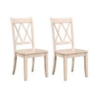 The ultimate compliment to your dining ensemble, your dining chairs lend you the perfect perch to enjoy a meal while they reinforce the style set by your dinner table. Take this chair, for example: perfect for an understated country look, it's crafted from solid rubberwood with distressed details and a solid-hued finish. A double-cross back rounds this piece out with an additional touch of style that makes it perfect for a modern farmhouse.