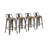 Invite the feel of your favorite downtown hangout with this bar stool, a trendy addition to industrial ensembles. Crafted from steel, this design's frame features a clean-lined backrest for industrial appeal and a footrest. Up top, a solid pine seat showcases a natural grain pattern for a touch of character. Rubber feet make this piece safe for hardwood flooring and carpets alike. Plus, it comes backed by a one-year warranty.