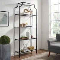 Show off framed family photos, well-thumbed novels, and artful accents on this etagere bookcase, perfect for adding a personal touch to any arrangement in your home. Crafted from metal, this piece strikes a clean-lined silhouette with curved upper accents and four glass tiers. A distressed finish outfits the open frame for a vintage vibe this tall design offers ample display space while helping you make the most of your square footage. Assembly is required.