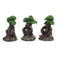 These Greenman forest deities see hear speak no evil sculptures are made of polyresin, hand painted and polished individually.