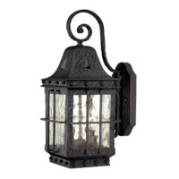 Classic lines, hammered metal and rivet accents come together to create a traditional look in the Edinburgh collection. This fixture is finished in a textured black and features clear water glass. Ideal for your covered porch, entryway, garage, or any other area of your home.