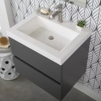 Modest in size with a minimal look, this understated single bathroom vanity is fitting for a home with and without space restrictions. Crafted from engineered wood, it features a hardware-free contemporary design and a vanity top in a gray finish that is easy-to-clean, non porous, and bacteria-, mold-, and mildew-resistant. A single hole faucet mount option makes for easy installation, while its wall mounting design gives it a modern feel. Plus, two full-extension drawers are included for full...