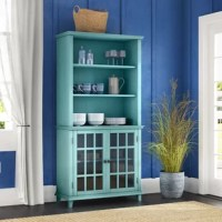 As a focal piece to display collections or for storage, this China Cabinet is perfect for any room in the home. Use in your kitchen, dining room, bathroom, or living space to store and display knick-knacks or everyday necessities. The bottom half features two wide shelves hidden behind two glass doors, while the open-top has three adjustable shelves. The painted antique finish and straight-lined design allow the piece to complement a variety of decor styles.
