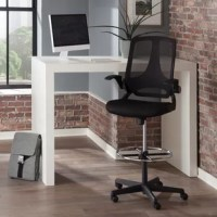 The product provides you with a breathable mesh back material that helps to keep you cool all day. This drafting stool features a sturdy metal footing for support. The drafting chair's flip arms provide all-day support for the upper body and shoulders with the added freedom of flip-up functionality that moves the arms out of the way when needed. The office chair has all the important ergonomic features that allow you to customize the fit like center-tilt mechanism, upright tilt lock, tilt...