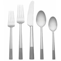 Made from stainless steel, the flatware set is defined by its understated simplicity. A great starter set. Includes 8 forks, 8 knives, and 8 spoons.