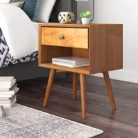 Where would you stash your midnight novels or perch your reading lamps without a nightstand? They're a staple in your home. Take this one for example: Crafted from Brazilian pine wood, it's perched atop slightly splayed, conical legs, working well in any mid-century modern aesthetic, while a neutral hue allows it to blend with a variety of color schemes. Featuring one drawer on wooden glides, it provides a place to tuck away loose odds and ends, while an open shelf offers even more storage.