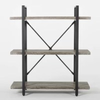 With its powder-coated metal frame and wood grain finished shelves, this rustic, industrial bookshelf will add grit and character to any home or office. Designed to hold up to the weight of the years, this industrial bookshelf is the perfect place to display treasured books, photos, decor, trinkets, collectibles and more. The three fixed shelves are supported by a powder-coated metal frame added strength and stability.