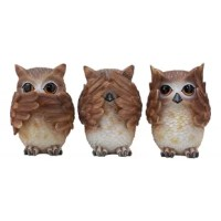 These see hear speak no evil owl figurines are made of polyresin, hand painted and polished individually.