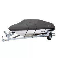 The Classic Accessories StormPro Boat Cover is designed for both long-term storage and highway travel. It is made using high strength polyester StormPro™ fabric that is designed for extra durability and all-weather protection. It is gray in color and is available in multiple sizes. The cover has an integrated buckle and strap system for easy fitting and trailering. It has adjustable straps that snap into quick-release buckles on the cover. The cover has an elastic cord sewn into bottom hem...