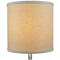 This Lamp Shade is equipped with a washer fitter. This is the most common fitter type. The washer generally rests on the top of a metal harp above the light bulb and is held in place by a screw-on finial. The outside of the lamp shade has a fabric covering. The inside is a  styrene (white plastic). The trim is the same color as the covering.