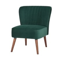 This is an armless accent chair constructed with soft velvet and robust wood frame. The chair is young and trendy design, and it's very comfortable to sit and read; the chair's sleek armless profile makes it a great choice for small - to mid-size spaces, perfect for a living room, bedroom or entryway.