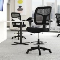 Whether you're working on a string of emails or penning your next novel, this drafting chair is a great addition to any office. The waterfall seat is padded and upholstered for an approachable look, while the mesh back has built-in lumbar support and can angle backwards to make this chair even more inviting. Five caster wheels offer plenty of mobility, while an adjustable seat height and armrests let you tailor this chair to your preference. As a bonus, it's backed by a limited lifetime...