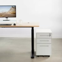 You love the sleek, minimalist look of your standing desk, but a little extra storage room would come in handy. Fortunately, this cabinet is a compact and safe option for business or home office where space is limited. The bottom drawer keeps your documents organized and accommodates letter or legal size files while two drawers above provide additional storage space for your small items. The appropriate dimensions make it applying to most desks and five wheel casters (one under file drawer for...