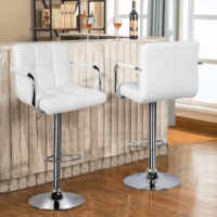 Looking for a counter height chair for your kitchen. Or want to refurbish your bar. Then you must not miss this glossy bar stools. Thick foam padded seat and back of the stools are covered with premium PU leather, super soft and comfortable to sit on for a long time. Sturdy leg and base are made of plating steel, which ensures both good rust and corrosion resistance and shining appearance. 360° Swivel seat and adjustable seat height make the stools more flexible to meet your various needs.