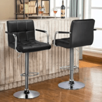 Are you looking for a counter height chair for your kitchen or want to refurnish your bar? Then you must not miss this glossy bar stools set. Thick foam padded seat and back of the stools are covered with premium PU leather, super soft and comfortable to sit on for a long time. Sturdy leg and base are made of plating steel, which ensures both good rust and corrosion resistance and shining appearance. 360° Swivel seat and adjustable seat height make the stools more flexible to meet your various...