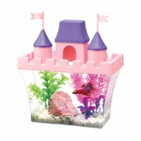 Each kit includes a half-gallon clear acrylic aquarium, pink castle-shaped top with feeding holes, purple steeples and pink flags. To get your decorating started, gravel and a small plant are included. Also included are samples of Aqueon betta food and betta bowl plus water conditioner that instantly conditions tap water by neutralizing harmful chloramines, ammonia, and heavy metals.