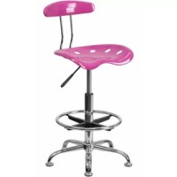 This stool with tractor seat is a versatile option that's sized right for the workbench in your garage, stand-up desk in your office and the island in your kitchen. The back and swivel seat are made from high-density polymer for durability and a sleek, shiny finish. Easily raise or lower the height of this drafting chair using the pneumatic adjustment lever, conveniently located under the seat. Plastic floor glides protect your floor by sliding smoothly when you need to move it, and the...