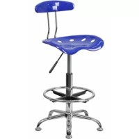 This stool with tractor seat is a versatile option that's sized right for the workbench in your garage, stand-up desk in your office and the island in your kitchen. The back and swivel seat are made from high-density polymer for durability and a sleek, shiny finish. Easily raise or lower the height of this drafting chair using the pneumatic adjustment lever, conveniently located under the seat. Plastic floor glides protect your floor by sliding smoothly when you need to move it and the...