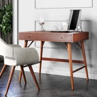 This mid-century modern desk with the perfect small yet spacious body is suitable for any home office. It features a drawer with multiple compartments and space inside.