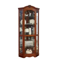 Trot out your tchotchkes – they finally have their own space! With its slim design, this curio cabinet is perfect for displaying dazzling items and adding a note of interest to a currently empty corner. A combination of solid and manufactured wood, this piece's keystone accent and v-grooved glass doors make it as appealing on the outside as what you showcase within. Customize the lighted interior with adjustable glass shelves to show off your accouterments to their best advantage.