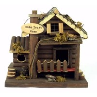 This birdhouse will please any decorator or animal lover. The unique, handcrafted little log cabin presents an unusual design, made to look like a two-story home with front porch. Made of wood, weather-resistant construction. It's sure to give your bird friends a happy home for many years. This house was created to not only add comfort and familiarity to birds but also to brighten your home!