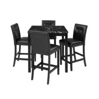 Looking for a comfortable and classy dining set?  This modern counter-height set is perfect for you!  Each chair is made of a solid rubberwood frame, upholstered in faux leather, padded with a high elastic foam for upgraded comfort.  It also features a footrest so your feet do not dangle.  The table features a faux marble surface so that you can enjoy a luxurious look without breaking the bank.  Enjoy your meals with this incredible 5 piece counter height dining set!