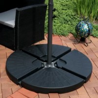 The cantilever umbrella weights are the perfect solution for weighing down the cross base of an offset patio umbrella. The base plate weights are sold in a set of 4, so you can choose to use all 4 or use one on each side. Each weight features durable plastic construction with an easy-fill spout so each base weight can be with 43.75 lbs of water or 50 lbs of sand.