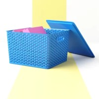 Bring order and a splash of color to your space with this set of three blue plastic storage containers. Crafted from plastic, each piece strikes a boxy silhouette measuring 8.75'' H x 14.25'' W x 12'' D, so they're sized to hold papers, books, toiletries, and more. Geometric cutouts along all sides give this set a breezy and modern look, while convenient handles make it easy to transport your trinkets between rooms.