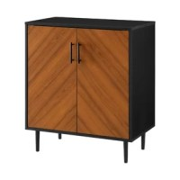 Affordable and good looking? Find the perfect addition to your home with this faux book-match door accent cabinet. One adjustable shelf allows you to store your media, souvenirs, or boxes of family photos with function and ease. Slightly tapered metal legs also include adjustable rubber feet so you can place this accent cabinet on the hardwood with peace of mind that your floors won't be ruined.