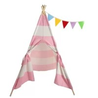Features:1. This teepee comes with a bag so that you can store the teepee to save space, or if you want to take it to a friend's house!2. Kids will love to use the built-in mesh window to 'peer out' of the teepee. The window can be hidden behind a roll up flap that can be secured either on top or bottom.3. With tons of room inside for your little one and their friends, your child will want to spend hours inside this cool tent!Specifications:1. Material: Canvas  2. Frame Material: Batten3....