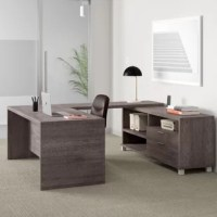 Give yourself the space to spread out while you work with an executive desk like this one! It's crafted in North America from commercial-use manufactured wood, and showcases a reversible U-shaped design with an included credenza to give you plenty of space to work. The credenza features two drawers and three open shelves, giving you some much-needed space to stash those office essentials. And thanks to the 10-year warranty, you can work with a little peace of mind as well.