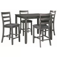 This 5-piece dining set makes it seem that way. This transitional counter-height table and barstool ensemble sports a charcoal gray finish with textured gray upholstery for an on-trend and relevant appeal. Plushly upholstered seat cushion in a practical poly-fiber makes it a pleasure to linger at the table. Best of all, the square table design is ideally suited for small spaces.