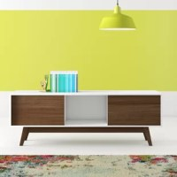 With its low profile, splayed legs, and streamlined silhouette, this TV stand is steeped in mid-century modern style. Crafted from manufactured wood, this piece sports a two-toned finish to create crisp contrast, while still staying neutral enough to mix with most color palettes. Two closed cabinets offer concealed storage space for electronic devices, while an open shelf in the center lets you show off a few artful accents. Up above, the top spans 59