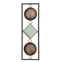 Add depth and dimension to your space with the modernist floating circles and square in a rectangular frame. Contrasting geometric shapes within the rectangular frame are looped together and make for eye-catching wall art that can be hung vertically or horizontally. Handcrafted from the highest quality powder-coated iron, hang this versatile modern art behind a couch or above a bed for a dramatic statement. Given the handcrafted nature of this artwork, each piece will be unique, and no two will...