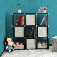 Adopting high-quality steel tube, plastic connectors, and non-woven fabric, the storage cube shelf have a sturdy and stable structure; this storage shelf features high strength that it is durable in use. With 3 tiers and divided into 9 checks, it is able to store many items. Perfect for keeping shoes, books, clothes, this cube organizer can be used as a bookshelf, shoe rack, wardrobe, toy cabinet or display shelf space.