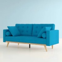 Add a splash of modern flair to your living room with this sofa. Inspired by midcentury style, this design features four splayed wooden legs (detachable) and a low profile. Its clean-lined silhouette and track arms give it a streamlined look, while square button-tufted details offer a touch of texture. Crafted with a solid wood frame, this piece is set on a center steel beam for extra support, upholstered with poly-cotton fabric, and filled with foam for a firm feel. DIMENSIONS (toss/bolster...