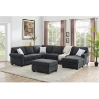Anchor your living room with this sectional group. With the unlimited possible options, this sectional features a superior plush microfiber upholstery, cushion back, and seat cushion. This sectional is completely modular so you can create the living room for your comfort needs.