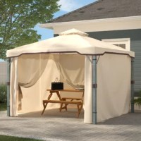This 10 Ft. W x 10 Ft. D Steel Patio Gazebo adds a functional touch to any outdoor living space. The polyester covering offers the perfect shade solution while maintaining a clean feel. The steel frame of the gazebo is durable and comes with adjustable netting to enclose the gazebo for added shade or nighttime protection from the elements. This is the perfect piece for anything from relaxing in solace to entertaining guests.