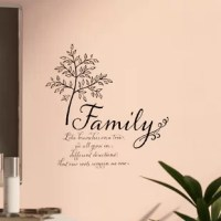 Whether you are an empty nester or just starting to build your flock, far from home or close to relatives, this decal keeps familial love close at hand. A delicate tree accents the heartfelt script quote. Family Tree Wall Quote Decals contains 4 pieces on 2 sheets that measure 17.25 x 9.75 inches.