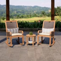 Choose to spend long summer nights with your loved one in this beautiful teak-meets-wicker small patio set. This robust, oversized rocking chair will stay beautiful and pampering for you through many seasons. While its off-white seat cushion allows you to feel more comfortable. Pair with other outdoor pieces from this collection to create a bigger seating set for your backyard this summer.