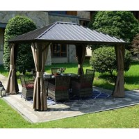 Add a stylish touch to your outdoor space that keeps you and your family out of the sun and weather all year long with a gazebo like this! Both the roof and frame of this piece are crafted from aluminum, making this piece a great option for standing up to rain, UV-light, and rust. Plus, with included screens and side walls, this piece is perfect for adding a little privacy to your outdoor space and keeping insects and other pests out.