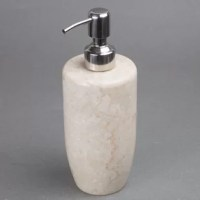 Liquid soap dispenser has an attached metal and composite pump that unscrews for refilling. A polished finish to enhance the patterns and natural variety of color in the marble. Natural marble varies in pattern and color, giving it a beautifully organic style. Felt dots on the bottom ensure it won't scratch other surfaces. Give your home a taste of charm and elegance with Marble Bath products.