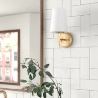 Whether flanking the vanity mirror in your washroom or brightening your bedroom ensemble, wall sconces are a stylish addition that shines in any space. Take this one, for example, The perfect pick for any modern space, it showcases a circular backplate and slim, tapered design awash in a solid, metallic finish. Up top, the etched opal shade accommodates one 13 W lightbulb (not included). Plus, it's designed to live in a damp environment such as a steam-filled bathroom or covered porch.