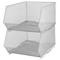 Organize and declutter your pantry, cabinet or any other storage space with the product. They have multiple uses. Keep crafts organized and office supplies handy with these stacking bins. Made from steel mesh Sturdy and stylish silver mesh construction, these bins are strong and durable. They make a great storage container for items such as toys, kitchen, craft supplies, cleaners, pantry items, and other everyday items. Stack them on top of each other to maximize storage space. Locking system...