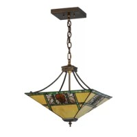This charming nature inspired pendant features a Pinecone Mission designed shade with Bark Brown granite glass Pinecones on a clear granite glass background with pine needle detailing. Bone beige stained glass geometrically divided by moss green bands on the shade, suspended by hardware and finished in antique copper.