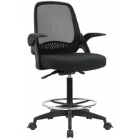 Drafting chair bases on the perfect ergonomic design which combine with the breathable mesh backrest, padded cushion and flip-up armrests offers the ultimate in comfort.