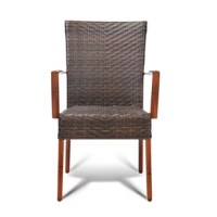 Relax outdoors in the Vineyard side chair. This side chair is constructed with a rust-proof aluminum frame and seat pan covered with durable woven resin strands. It is available in our coffee color with a dark bamboo finish on the frame. It is suitable for indoor and outdoor use and is stackable up to a recommended 4 pieces.